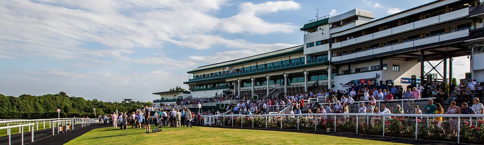 Crowds gathered at Chepstow Racecourse to watch racing.