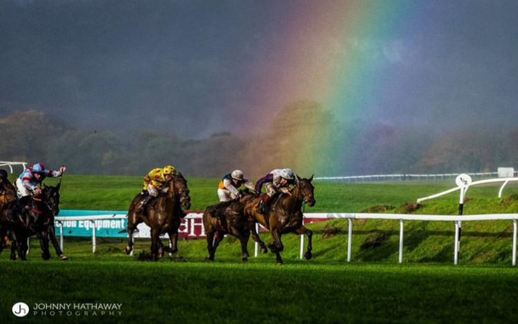 Horses racing with a rainbow in the background