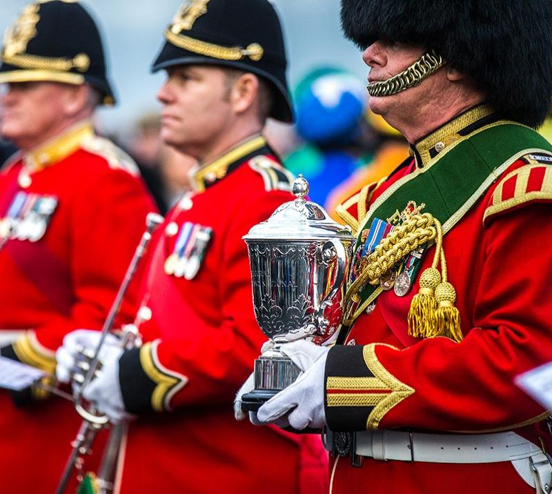 Army band presenting a trophy for winning the Welsh Grand National at Chepstow Racecourse.