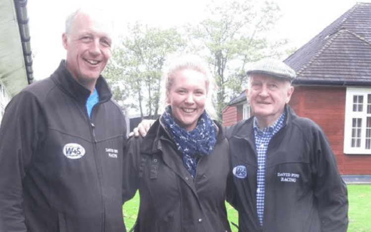 Clerk of the Court at Chepstow Libby O'Flaherty with members David Pipe Racing Team