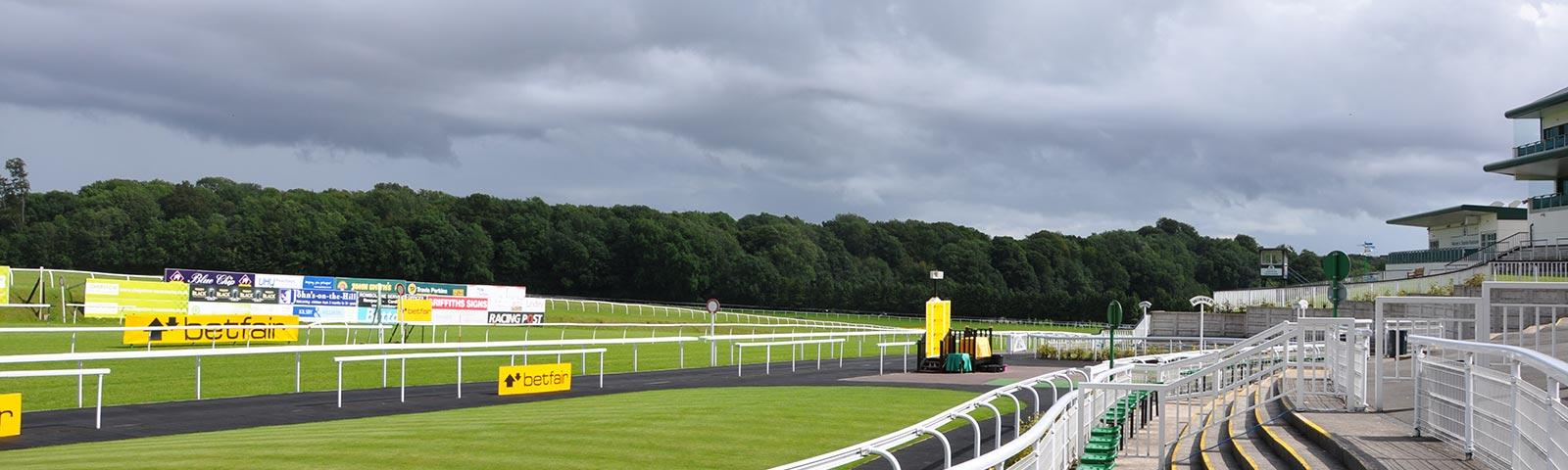 View of the race track at Chepstow Racecourse.