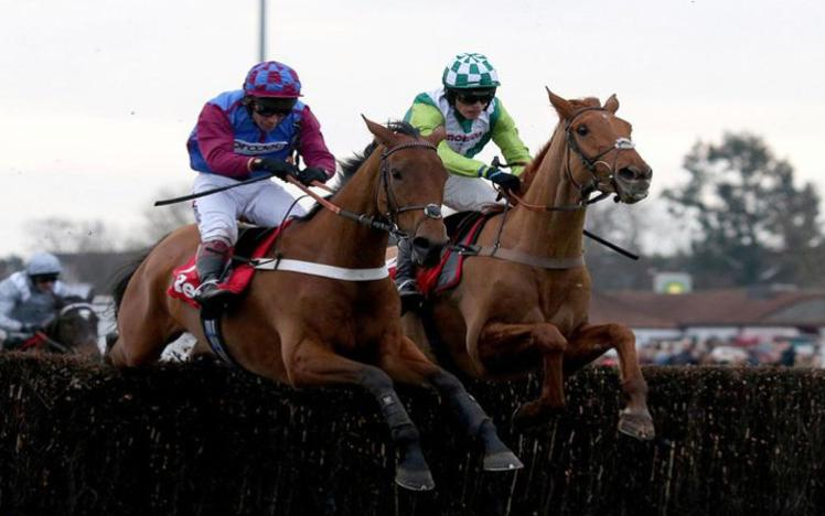 Two horses jumping a fence at Chepstow Racecourse.