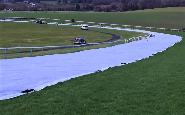Covers going down at Chepstow Racecourse in prep for the Welsh Grand National