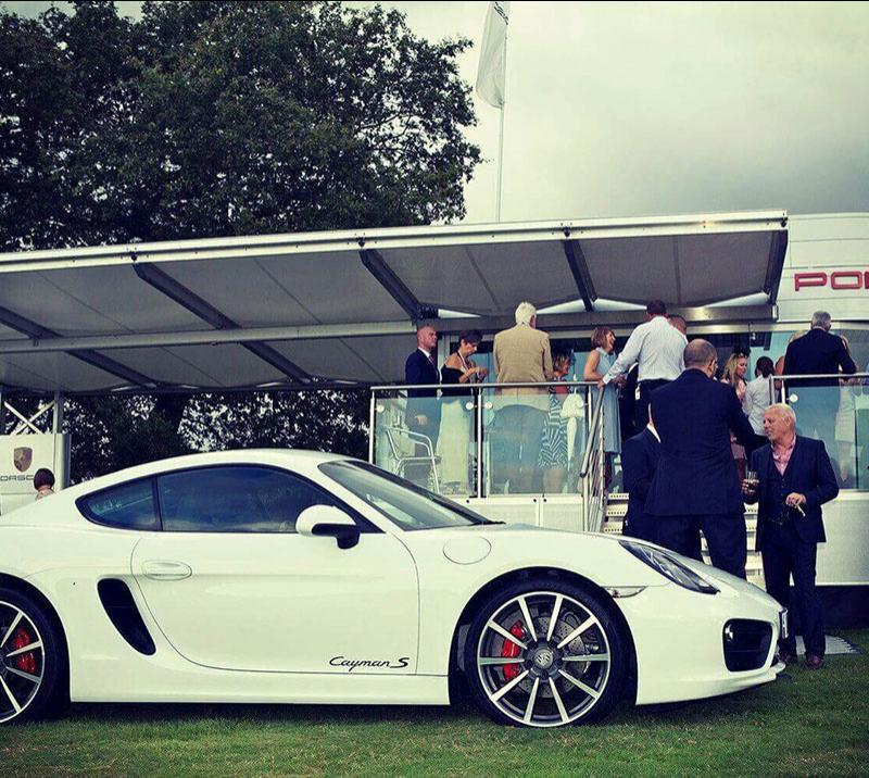 A Porsche Promotional area at Chepstow Racecourse.