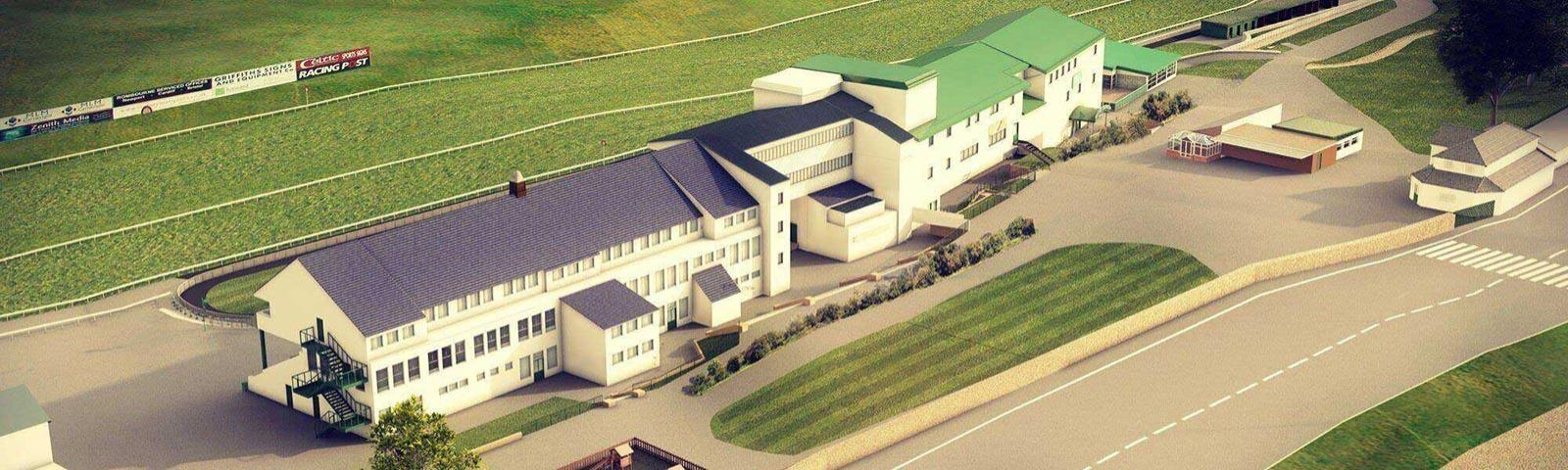 An aerial view of Chepstow Racecourse's main buildings.